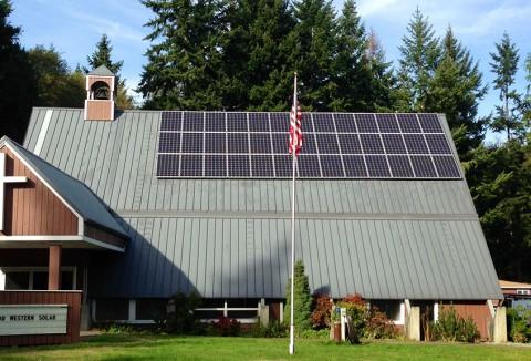 9.36 kW Solar PV System, Little Brown Church, Clinton, WA - Western Solar